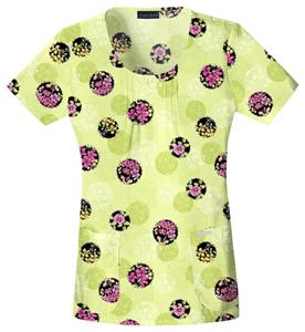 Cherokee Women&#39;s Basic Print Scoop Neck Scrub Top