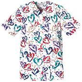 Cherokee Women's Basic Print Snap Front Scrub Top