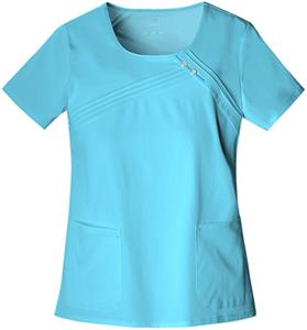 Cherokee Womens Round Neck Pin-Tuck Scrub Top
