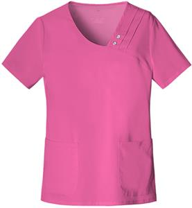 Cherokee Crossover V-Neck Pin-Tuck Scrub Top
