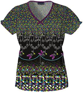Cherokee Two Times The Beauty V-Neck Scrub Tops