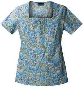 Cherokee Women&#39;s Basic Print Square Neck Scrub Top