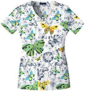Cherokee Women's Basic Print V-Neck Scrub Tops