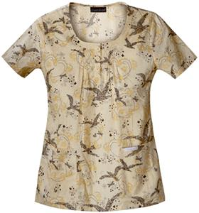 Cherokee Women's Basic Print U Neck Scrub Tops