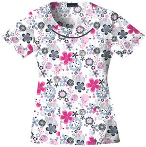 Cherokee Women's Basic Print Round Neck Scrub Tops