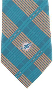 Eagles Wings NFL Miami Dolphins Woven Plaid Tie