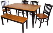 Boraam 6 PC Shaker Dining Kitchen Set With Bench