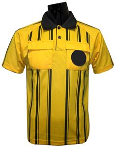 New Style Soccer Referee Jerseys Short Sleeve-GOLD