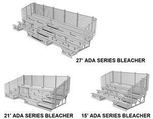 NRS ADA Series 5 Row Bleachers w/Picket Guardrail