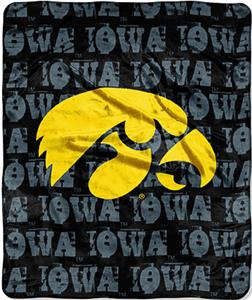 Northwest NCAA Univ of Iowa Grunge Raschel Throw
