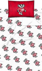 Northwest NCAA Univ. of Wisconsin Twin Sheet Set