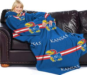 Northwest NCAA Kansas Comfy Throw (Stripes)