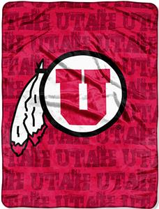 Northwest NCAA Univ. of Utah Grunge Raschel Throw