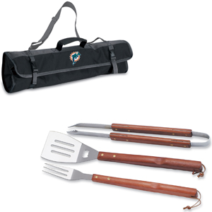 Picnic Time NFL Miami Dolphins BBQ Set w/Tote