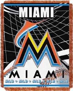 "Northwest MLB Marlins 48""x 60"" Triple Woven Throw"