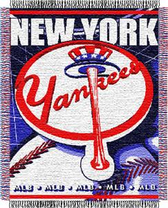 "Northwest MLB Yankees 48""x 60"" Triple Woven Throw"
