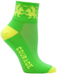 Red Lion Dragon-Courage 1/4&quot; Neon Crew Sock
