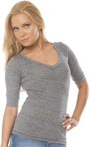 Royal Apparel Womens Deep V-neck 1/2 Sleeve