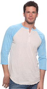 Royal Apparel Mens Triblend 3/4 Sleeve Henley