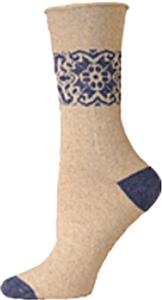 E. G. Smith Womens Hemp Placed Pattern Crew Socks
