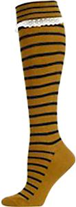 Nouvella Womens Stripe Lace Turned Cuff Knee Socks