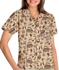 Blue Generation Bistro Tropical Print Camp Shirt