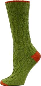 QT Feet Recycled 2 Toned Cable Crew Socks
