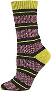 QT Feet Womens Recycled Birdseye Stripe Crew Socks
