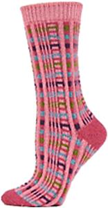 QT Feet Womens Recycled Picnic Plaid Crew Socks