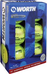 Worth ASA Super Gold Dot ProTac Softballs 6 pk