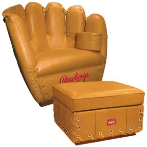 Rawlings Premium Leather Glove Chair Ottoman Combo