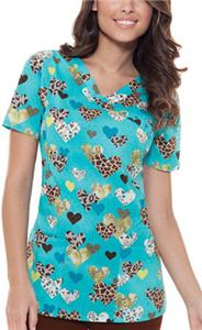 Baby Phat Deep In My Heart Mock Wrap Scrub Top