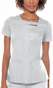 Baby Phat Asymmetrical Neck Solid Scrub Top