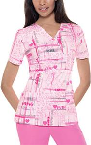 Baby Phat Faith & Love Mock Wrap Scrub Top