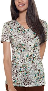 Baby Phat Floral Fixation V-Neck Scrub Top
