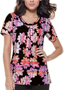 Baby Phat Prisma Floral Scoop Neck Scrub Top