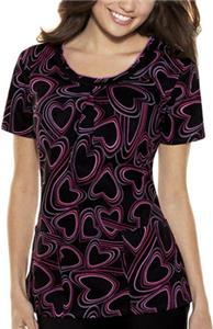 Baby Phat Spinning Hearts Scoop Neck Scrub Top
