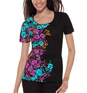 Baby Phat Twilight Floral Scoop Neck Scrub Top