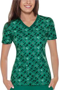 Cherokee Womens Plaid To Be Here V-Neck Scrub Top