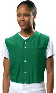 A4 Womens Full Button Mesh Sleeveless Softball Top