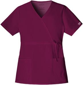 Cherokee Workwear Stretch Mock Wrap Scrub Top