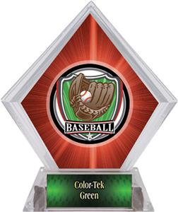 Shield Baseball Red Diamond Ice Trophy Plate