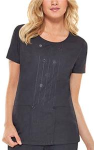 Dickies Womens Round Neck Embroidered Scrub Tops