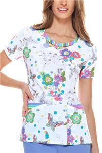 Dickies Womens Peek-A-Boo Neckband Scrub Top