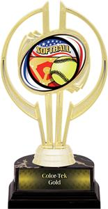 "Awards Gold Hurricane 7"" Americana Softball Trophy"