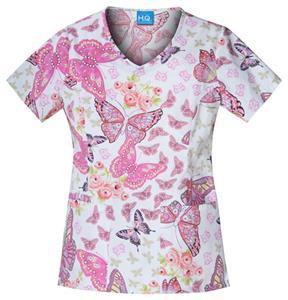 Cherokee Scrub HQ Pink Papillons V-Neck Scrub Top