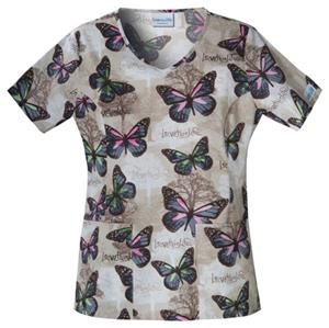 Cherokee Scrub HQ V-Neck Forest Monarch Scrub Top