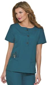 Landau Misses/Womens Wavy Placket Tunic Scrub Top