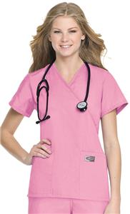 Landau ScrubZone Misses/Womens Faux Wrap Scrub Top