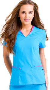 Landau Urbane Womens Layered Contrast Scrub Top